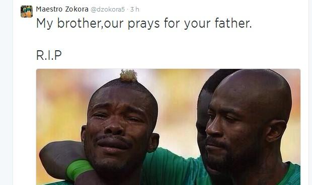 Zokoro afirmou no Twitter que o pai de um jogador da Costa do Marfim havia morrido horas antes da partida contra a Colômbia  (Foto: Reprodução / Instagram)