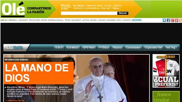 capa Olé Papa argentino (Foto: Reprodução / Olé.ar)