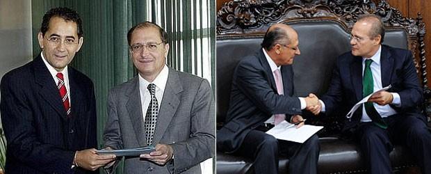Alckmin entrega projeto para o então presidente da Câmara, João Paulo Cunha, em 2003, e para o atual presidente do Senado, Renan Calheiros, em 2013 (Foto: Divulgação/Governo do Estado e Jonas Pereira/Agência Senado)