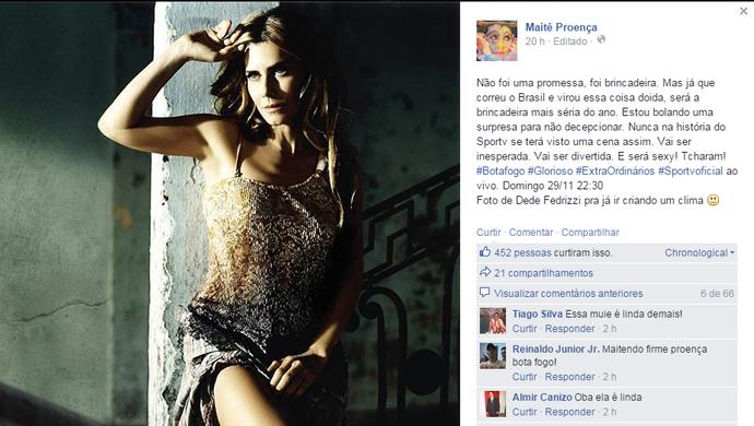 Maitê Proença; Facebook; promessa (Foto: Reprodução/Internet)
