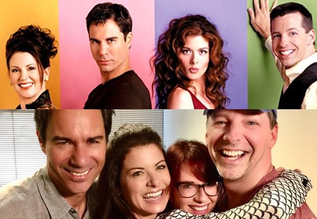 Eric McCormack, Debra Messing, Megan Mullally e Sean Hayes em 1998 (acima) e em 2016 (Foto: Reprodução)