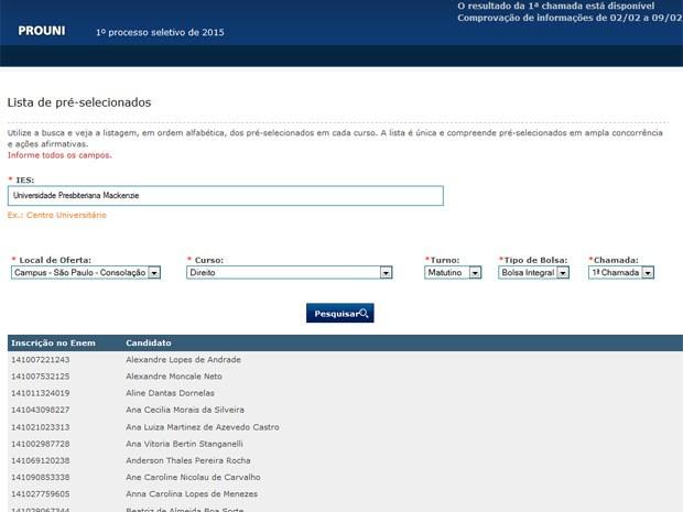 No site do Prouni é possível selecionar a instituição e curso para ver a lista de aprovados (Foto: Reprodução/Inep)
