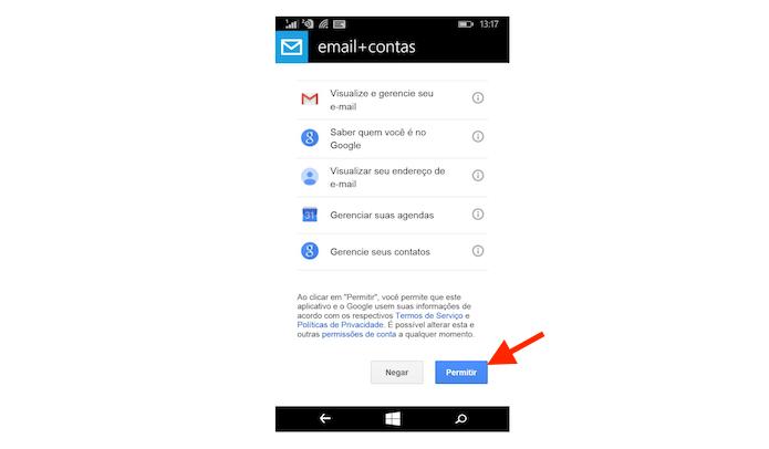 Permitindo a sincronia do Gmail no Windows Phone (Foto: Reprodução/Marvin Costa)