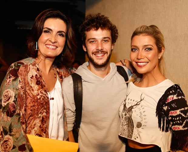 Fátima Bernardes, Jayme Matarazzo e Luiza Possi posam juntos (Foto: Raphael Dias / Gshow)