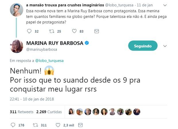 Marina Ruy Barbosa responde comentário de usuário de rede social (Foto: Reprodução/Twitter)