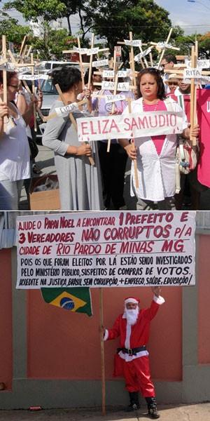 manifestações caso eliza (Foto: Pedro Trinelli e Glauco Araújo/G1)