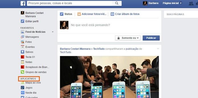 Acesse o menu de aplicativos no Facebook (Foto: Reprodução/Barbara Mannara)