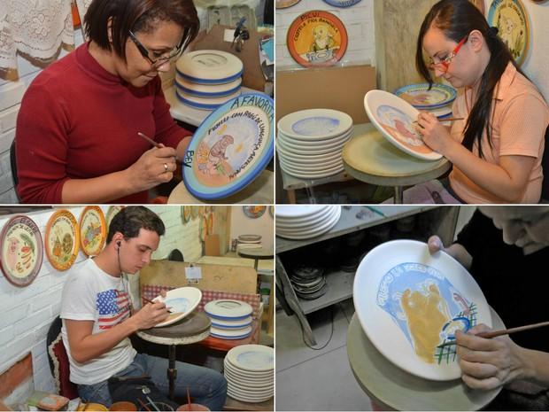 Pintores se conncentram em cada detalhe do prato  (Foto: Fátima Carvalho / Cerâmica Van Erven)