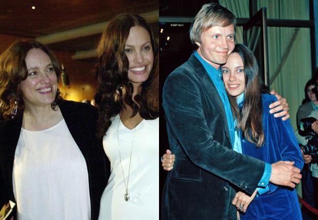 Marcheline Bertrand com Jolie e com o pai da atriz, Jon Voight (Foto: Reprodução)