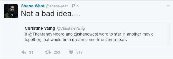 Shane West no Twitter (Foto: Reprodução/Twitter)