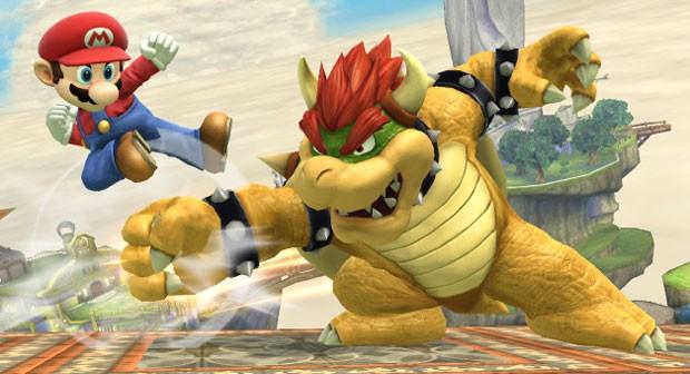 Mario luta contra Bowser em cena de 'Super Smash Bros' do Wii U (Foto: Divulgação/Nintendo)