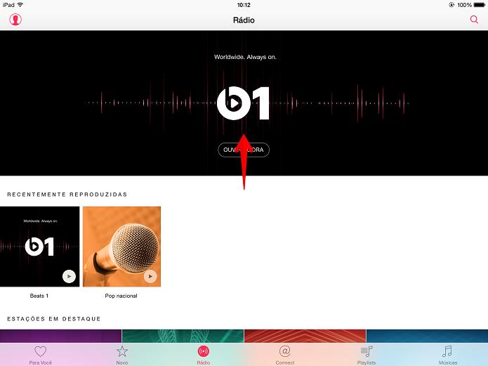 Toque na logo da rádio Beats 1 (Foto: Felipe Alencar/TechTudo)