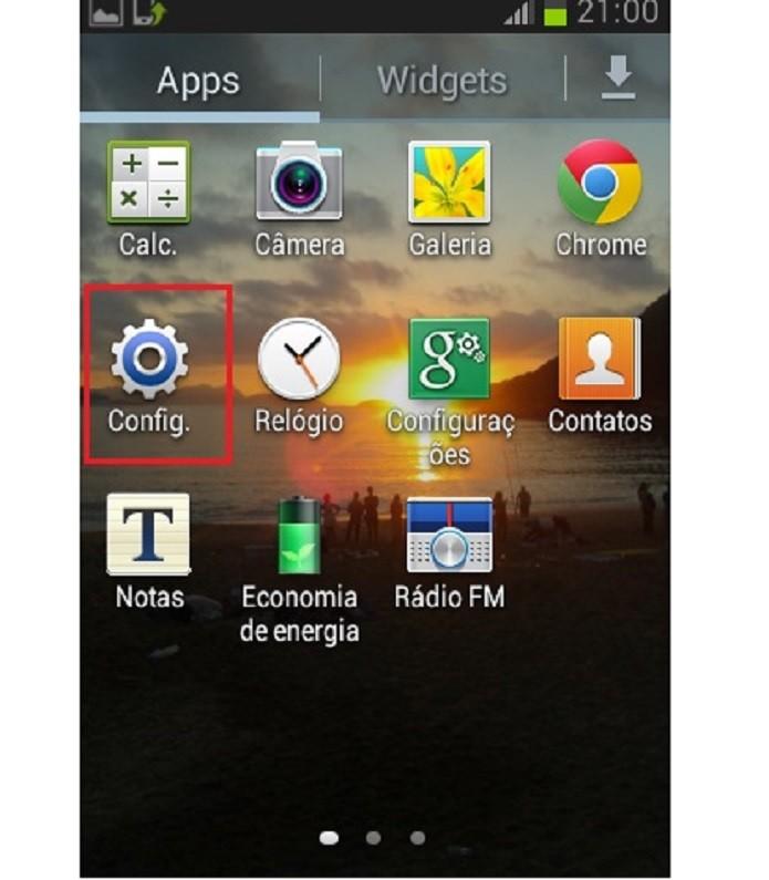 Dentro da aba apps, escolha a opção Config. (Reprodução/Taysa Coelho)