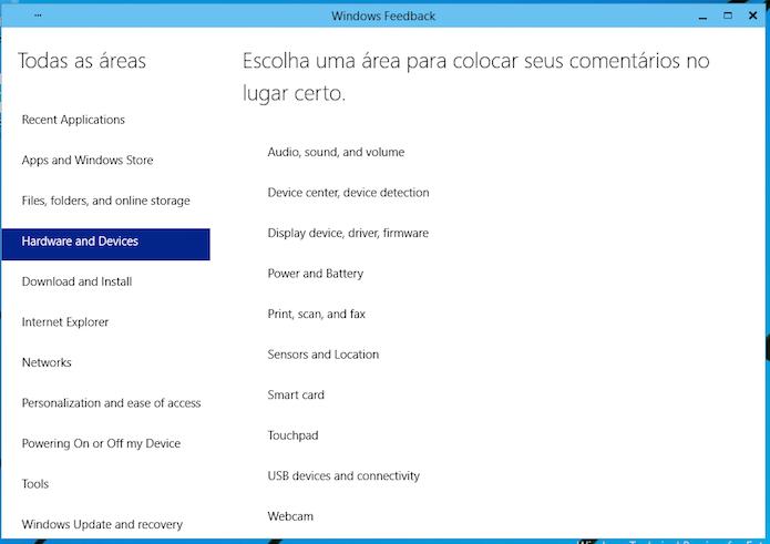 Fale diretamente com a Microsoft com o Windows Feedback (Foto: Reprodução/Edivaldo Brito)