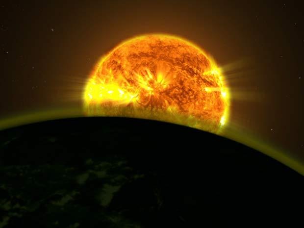 Ilustração da Nasa mostra a luz de uma estrela iluminando a atmosfera de um planeta (Foto: NASA's Goddard Space Flight Center)