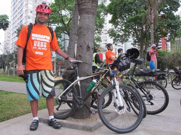 Luis Gustavo Corrêa Leite foi do Brooklin ao Centro por vias calmas (Foto: Paulo Toledo Piza/G1)