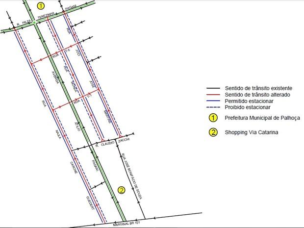 Palhoça terá ruas em sentido único no bairro Pagani I (Foto: Prefeitura de Palhoça/Divulgação)