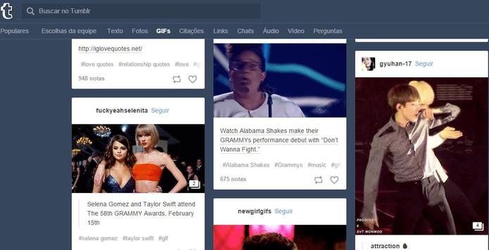 Tumblr tem categoria para encontrar GIFs de forma mais simples (Foto: Reprodução/Barbara Mannara)