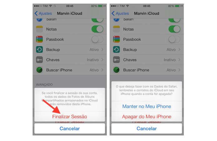 Efetivando o logout de uma conta do iCloud do iPhone (Foto: Reprodução/Marvin Costa)