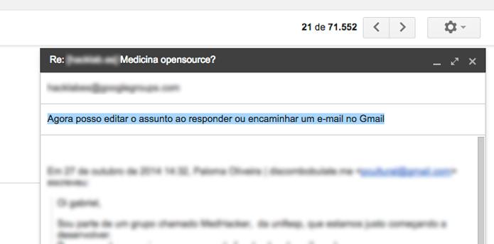 Agora basta editar o assunto do e-mail (Foto: Reprodução/André Sugai)