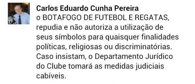 Post do presidente do Botafogo no Facebook