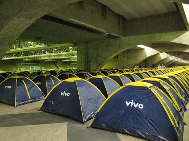 té as 19h, quase 60% das 408 barracas individuais estavam ocupadas (Foto: Luna Markman / G1)