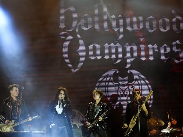 Banda Hollywood Vampires no Rock in Rio Lisboa, em Lisboa, Portugal (Foto: Patrícia de Melo Moreira/ AFP)