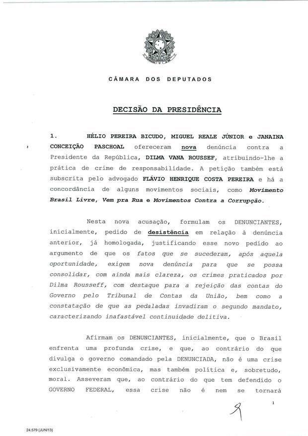 1 - Leia íntegra da decisão de Cunha que abriu processo de impeachment (Foto: Reprodução)