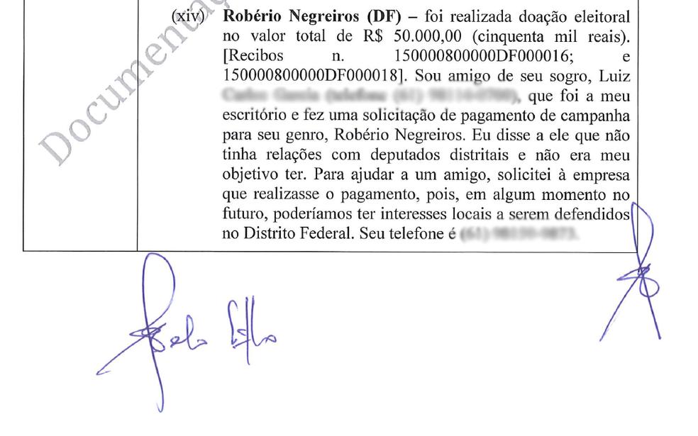 Trecho de delação de ex-executivo da Odebrecht em que cita doação de R$ 50 mil a Robério Negreiros (Foto: Reprodução)