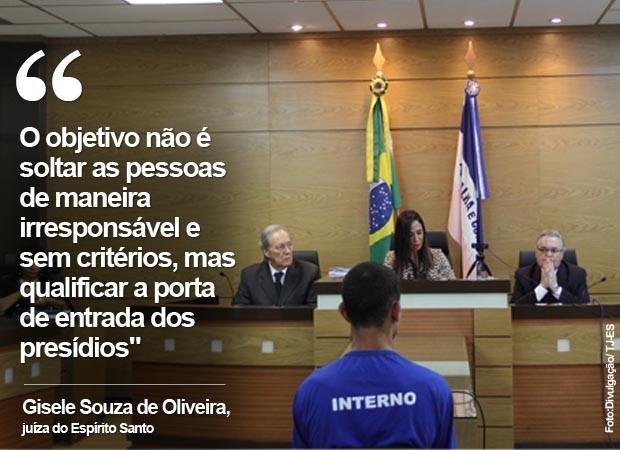 Juíza Gisele de Oliveira participa de audiência de custódia do Espírito Santo, com a participação do ministro Ricardo Lewandowski (Foto: Divulgação/TJ-ES)