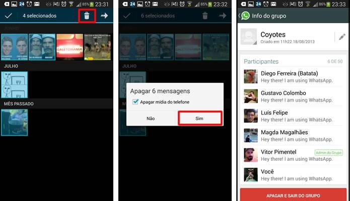 Escolha as imagens e vídeos que deseja apagar, aperte no ícone com o símbolo de uma lixeira e confirme a exclusão (Foto: Reprodução/Daniel Ribeiro)