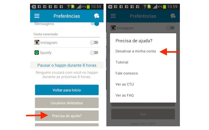 Acessando a opção para deletar uma conta do Happn no aplicativo para Android (Foto: Reprodução/Marvin Costa)