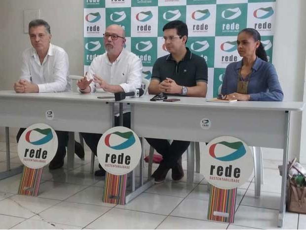 Marina Silva em entrevista coletiva com a cúpula da Rede Sustentabilidade em Brasília (Foto: Felipe Néri/G1)