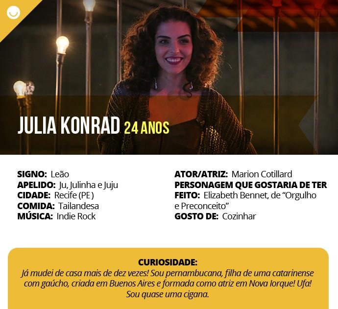 Card com informações curiosas de Julia Konrad (Foto: Gshow)