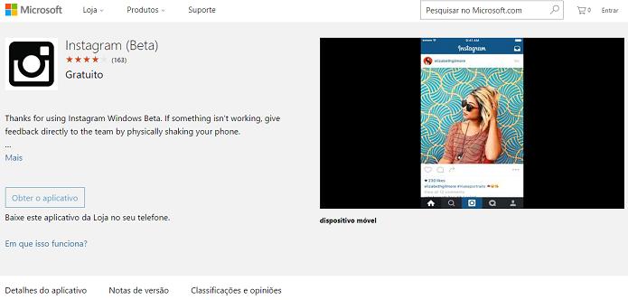 Instagram nos celulares com novo Windows acaba de chegar (Foto: Divulgação/Microsoft)