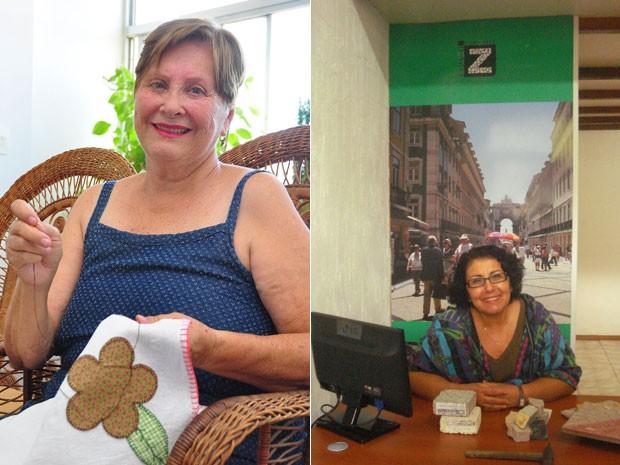 As aposentadas Yeda e Carmen optaram por empreender como forma de complementar a renda e ocupar o tempo (Foto: Mateus Pereira/Agência Sebrae/Divulgação e Arquivo Pessoal)
