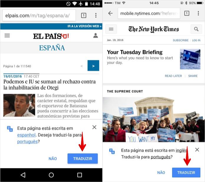 Ativando tradução do Chrome pelo celular (Foto: Reprodução/Helito Bijora)