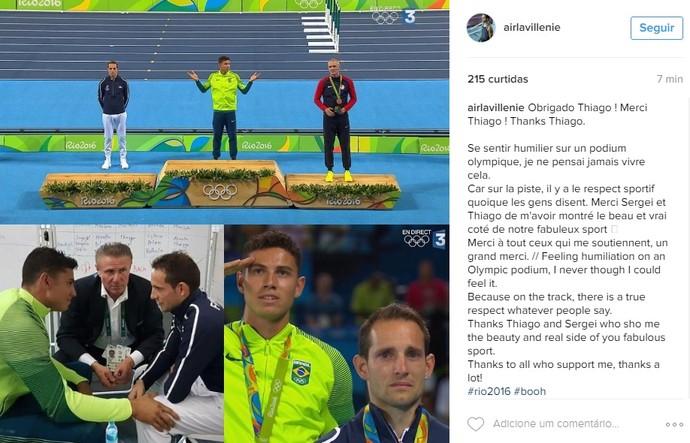 Renaud Lavillenie criticou mais vaias durante premiação e agradeceu brasileiro (Foto: Reprodução/Instagram )