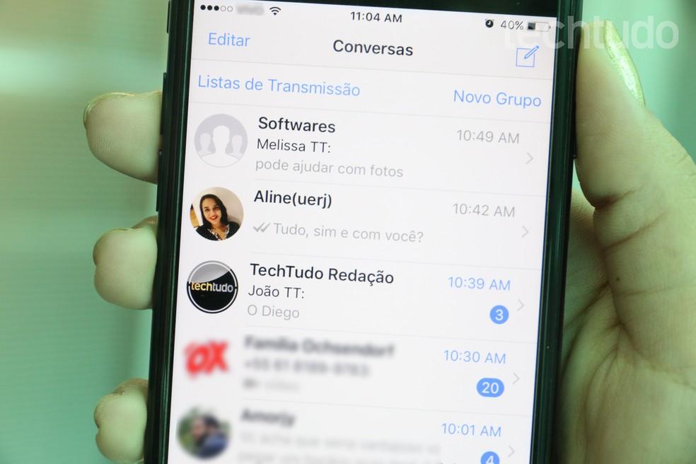 WhatsApp para iPhone ganhou recurso para responder mensagem de forma rápida (Foto: Carolina Ochsendorf/TechTudo)