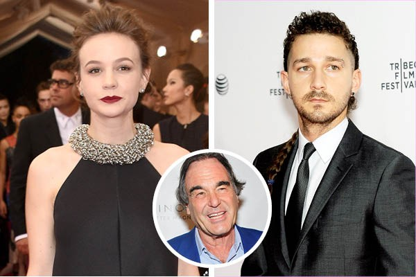 Carey Mulligan, Shia LaBeouf e Oliver Stone (Foto: Getty Images)