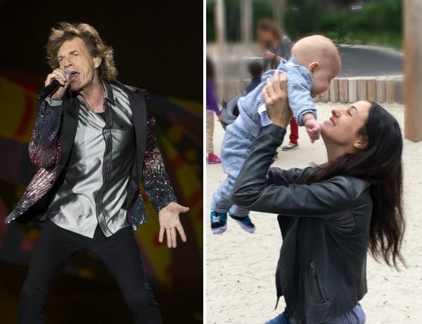 O cantor Mick Jagger e seu filho caçula com a mãe, a bailarina Melanie Hamrick (Foto: Getty Images/Instagram)