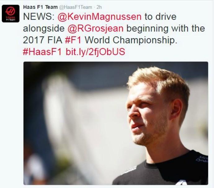Kevin Magnussen assina com Haas para 2017 (Foto: Reprodução)