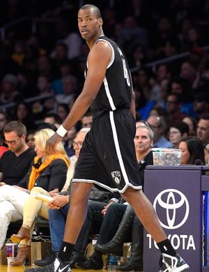 Jason Collins na partida do Brooklyn Nets NBA (Foto: AP)