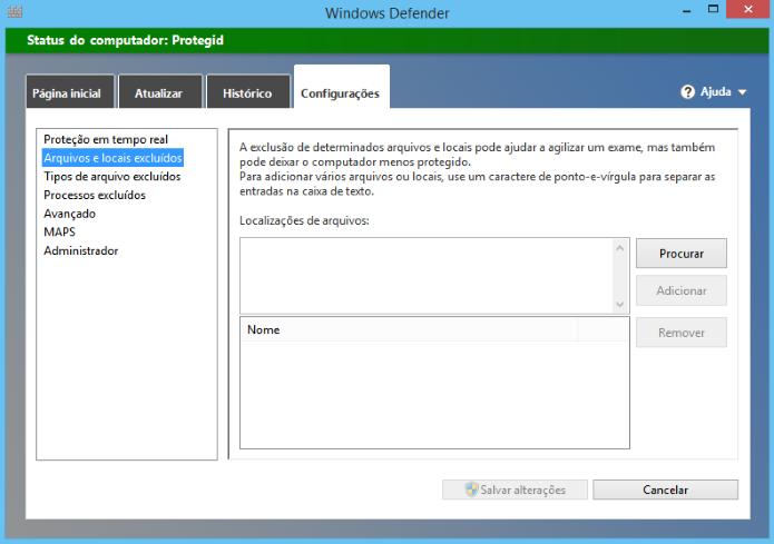 Opção avançada permite adicionar arquivos e pastas cofiáveis (Foto: Reprodução/Helito Bijora)