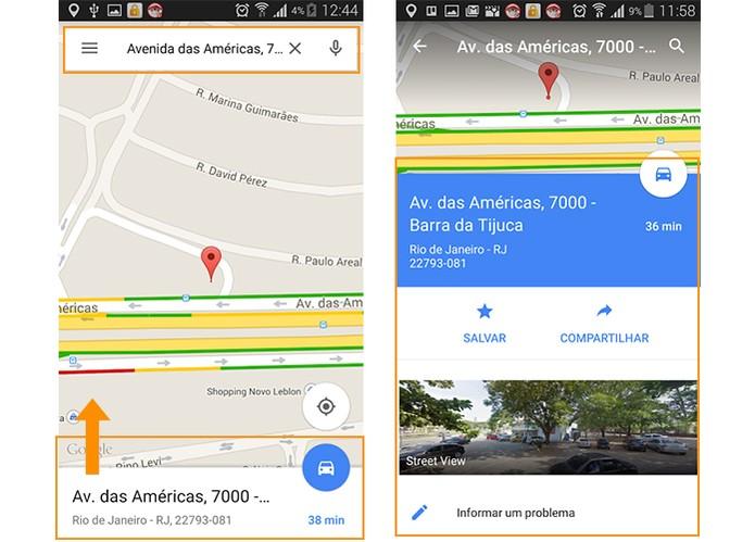 Procure pelo endereço que deseja enviar no Maps e arraste a aba inferior no app (Foto: Reprodução/Barbara Mannara)