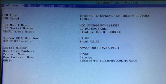 Tela principal da BIOS da Gateway (Foto: Reprodução/Helito Bijora)