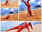 Adriana posta treino na praia e ri de si mesma: 'Caí trilhões de vezes'