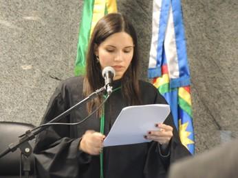 A juíza Carolina Malta que presidiu a sessão na sede da Justiça Federal em Pernambuco, no bairro do Jiquiá, Zona Oeste da capital (Foto: Katherine Coutinho/G1)