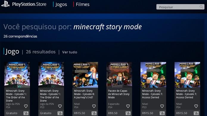 Faça uma busca por Minecraft: Story Mode na PlayStation Store e o primeiro episódio estará nos resultados (Foto: Reprodução/Rafael Monteiro)