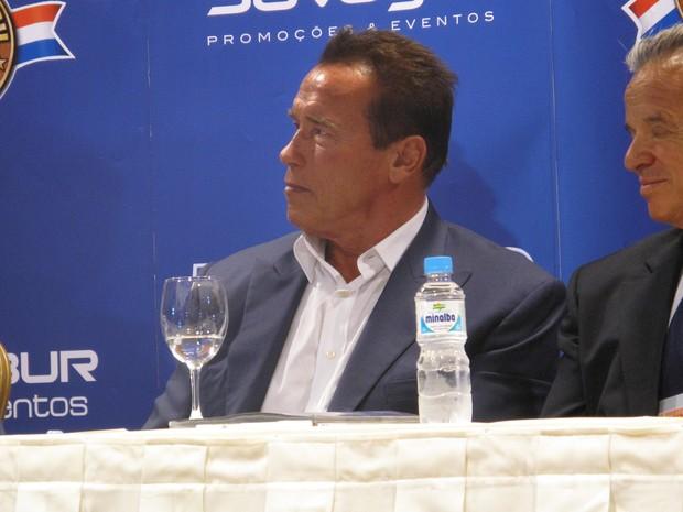 Schwarzenegger disse que aceitaria convite para filmar no Brasil (Foto: Isabela Marinho/G1)